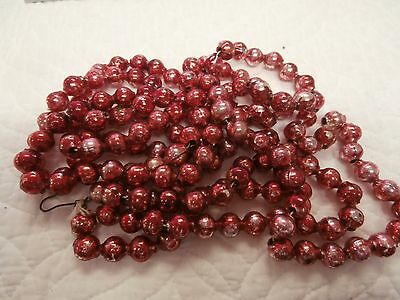 "72""  Vintage Antique Red Mercury Glass Bead  Feather Tree Garland"