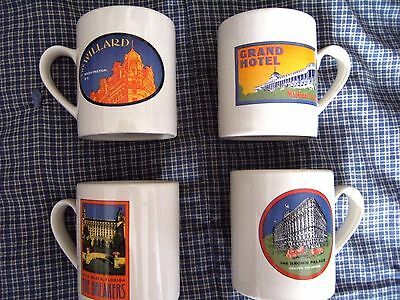 Collectable Mugs Set Of 4 Hotels Willard, Brown Palace, The Breakers & The Grand