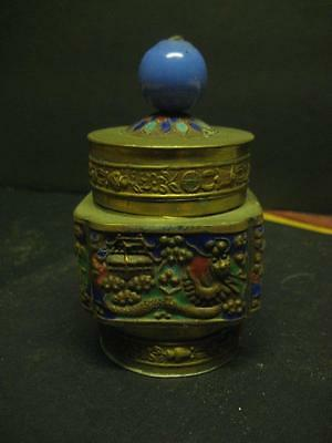 Antique Vintage Chinese Brass and Enamel Tea Caddy Spice Jar
