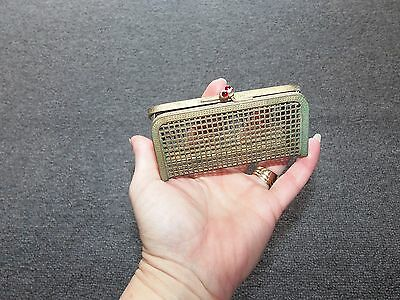 Vintage Metal Coin Clutch Purse Cage 4 X 3  1940's ?
