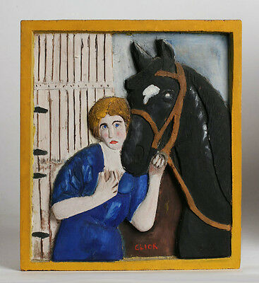 American Folk Art Carved Wood Plaque - 'Woman and Her Horse' / E.O.Click 1958