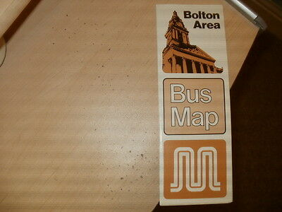 Greater Manchester Transport;Bolton area,glossy,fold-out Bus Map/guide;03/1982
