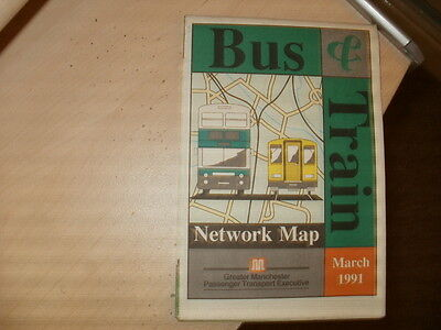Greater Manchester PTE;County Bus & Rail Network Map;Dated March 1991