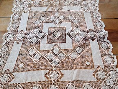 """ANTIQUE HAND MADE FILET NET LACE 29"""" SQUARE TABLECLOTH Linen ITALIAN knotted"""