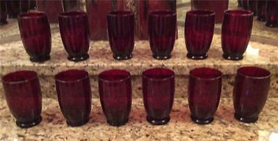 Vintage Beautiful Rare Set 12 Ruby Red Glasses Glassware