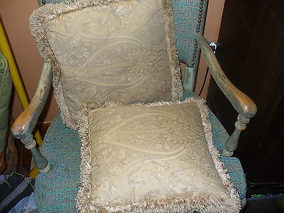 """Pair of Vintage Gold Paisley Cloth Plush Square Fringed 14.5"""" Wide Throw Pillows"""