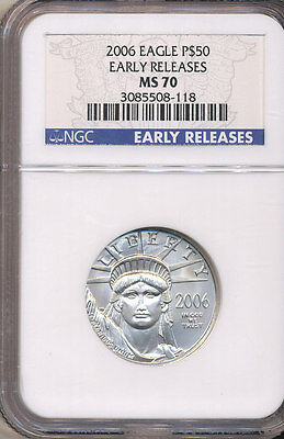 2006 NGC MS70 EARLY RELEASES $50 American Platinum Eagle 1/2 ounce .9995 LOWmint