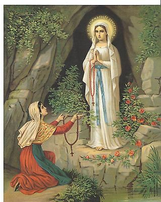 """Catholic Print Picture Mary - Our Lady of Lourdes & St. Bernadette 8x10"""""""