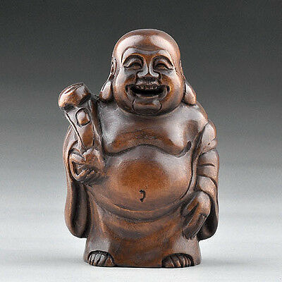2'' Japanese Carving Sculpture Boxwood Wood Netsuke Sign Laughing Happy Buddha