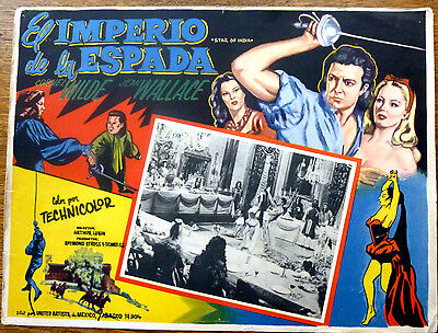 STAR OF INDIA Mexican Lobby Card CORNELL WILDE JEAN WALLACE