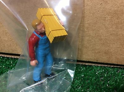 G Scale Figure Man With Blue Overalls Red Shirt And Holding A Wood Box
