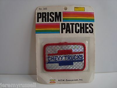 Factory Sealed Vintage 1970's Red & Blue Chevy Trucks Reflective Prism Patch