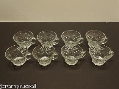 Set of 8 EAPC Oatmeal Anchor Hocking Early American Prescut Punch Cups **MINT**