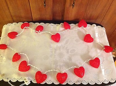 Valentine's Day light strand with 15 Red Heart covers 6 ft total length of white