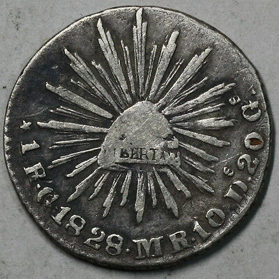1828-Go  MEXICO CAP & RAYS 1 Real 1st Republic Coin (16062058R)