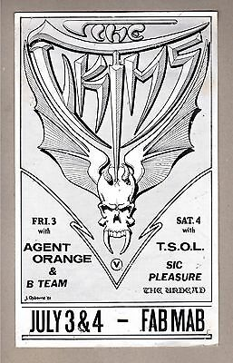 The Victims Agent Orange T.S.O.L Concert Flyer 1981 The Fab Mab S.F. CA EXC RARE