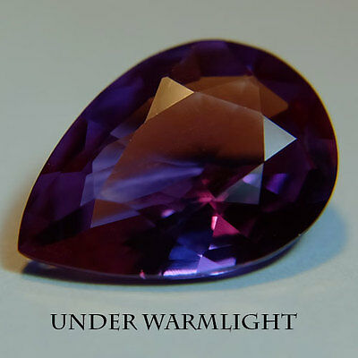 6.45ct.AWESOME RUSSIAN COLOR CHANGE ALEXANDRITE PEAR GEMSTONE