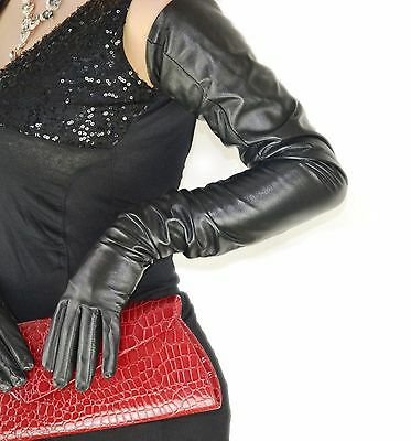 "75cm(29.5"") long 100% real leather opera long  evening leather gloves black"