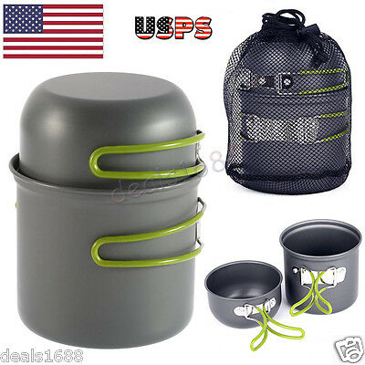 Portable Camping Propane Gas Stove Outdoor Hiking Cookware Cooking Burner w/ Pot
