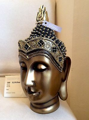 Exclusive Unique Large Buddhas Head Statue. Adorned In Jet Swarovski Elements