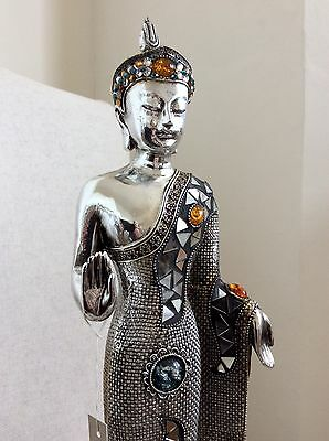 Very Large Beautiful Detailed Standing Buddhas Statue46cm Adorned In Swarovski's