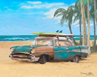 1957 Chevy Art Print Poster ~ 57 Chevrolet Bel Air hardtop surf car