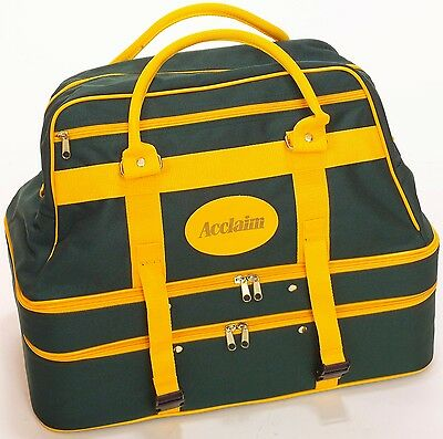 ACCLAIM Triple Decker Four Bowls Bowling Bag Bottle Green Yellow Marked F
