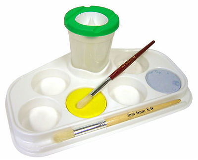 Artist 6 Well Paint Palette With Water Pot & Brush Holder Tabletop Or Easel Work