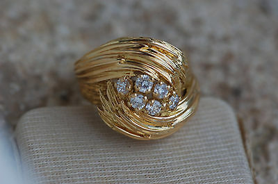 LOURDE BAGUE OR  MASSIF 18 CARATS / - DIAMANTS -  // Taille 50