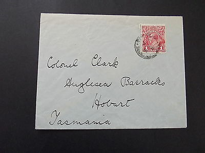 AUSTRALIA - 1d RED KGV ON OLD COVER TO HOBART TASMANIA