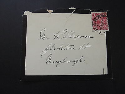 AUSTRALIA - 1d RED KGV ON OLD COVER TO MARYBROUGH 1918