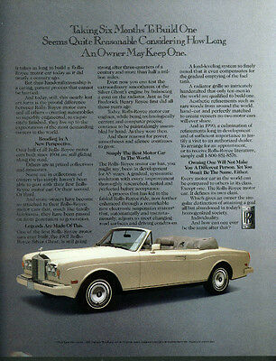 Taking six months to build one Rolls-Royce Convertible ad 1990