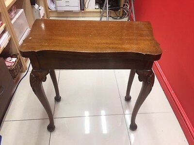 Antique Reproduction Card/Game Table Cabriole Legs Mahogany Green Surface  - B83