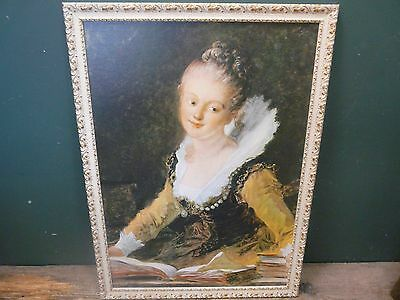 Reproduction of Die Lesende by Jean-Honore Fragonard Rococo frame 56x77cm B13