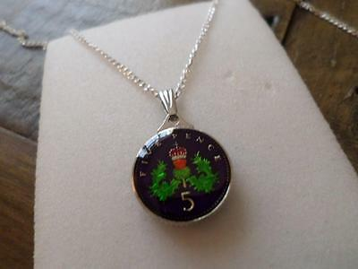 Vintage Enamelled 5 Pence Coin 1991 Pendant & Necklace. Great Birthday Present