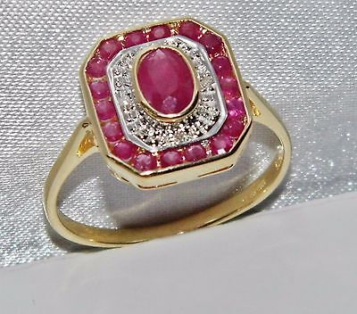 9ct Yellow Gold Ruby & Diamond Art Deco Design Cluster Ring - size P