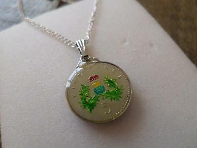 Vintage Enamelled 5 Pence Coin 1992 Pendant & Necklace. Great Birthday Present
