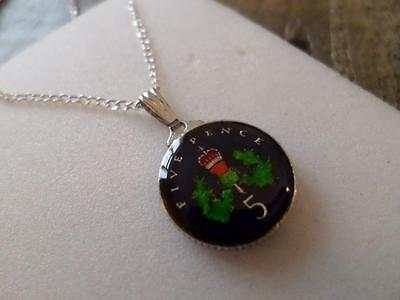 Vintage Enamelled 5 Pence Coin 1994 Pendant & Necklace. Great Birthday Present