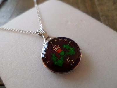 Vintage Enamelled 5 Pence Coin 1990 Pendant & Necklace. Great Birthday Present