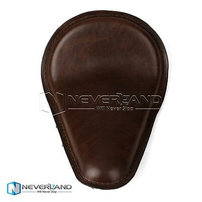 """14.2x10.2"""" Leather Solo Seat For Harley Sporster 883 1200 XL Chopper Honda Brown"""