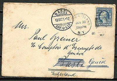 Usa 1921 Cover, N.y. To Basel Switzerland, Nice Stamp & Postmarks -Cag 041016
