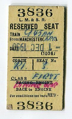 L. M. & S. Railway: Reserved Seat Ticket from Manchester:  Edmondson: Dated 1950