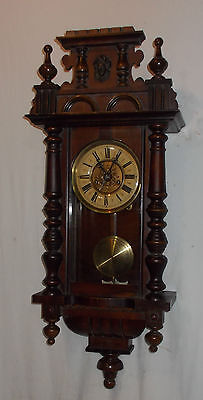 HAC VINTAGE Wall CLOCK With Turned COLUMNS & Chime FINIALS Antique VIENNA Style