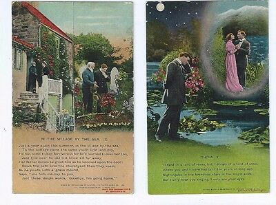 Postcard Collection Bamforth Song Cards Thora &  In The Village by Sea Holmfirth