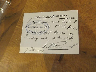 1909 Signed Postcard By Sir Westby Percivel New Zealand Politician