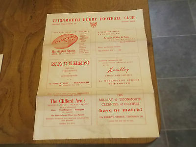 1959 Teignmouth V Redruth Rugby Union Programme