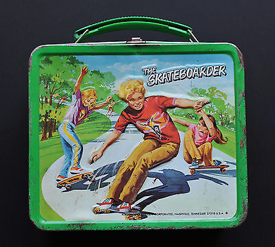 Child's Vintage Metal Lunch Box ~ The Skateboarder