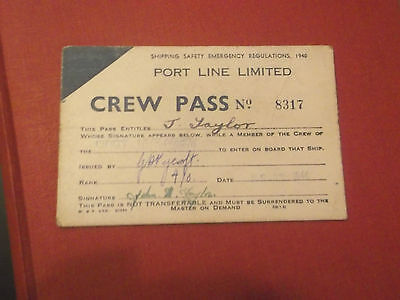 1944 Port Line Limited Shipping Crew Pass For The Port Jackson Ship