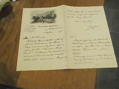 EARL OF MEATH 1907 HAND SIGNED LETTER from GRAND HOTEL MONTFLEURY CANNES FRANCE