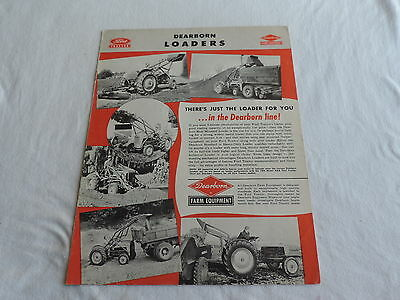 OLD 1950s FORD TRACTOR DEARBORN LOADERS FARM EQUIPMENT BROCHURE FREE SHIPPING
